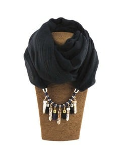 Waterdrops Tassel and Beads Decorated Solid Color Cotton Women Scarf Necklace - Black