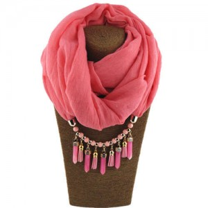 Waterdrops Tassel and Beads Decorated Solid Color Cotton Women Scarf Necklace - Pink