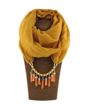 Waterdrops Tassel and Beads Decorated Solid Color Cotton Women Scarf Necklace - Yellow