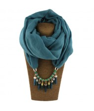 Waterdrops Tassel and Beads Decorated Solid Color Cotton Women Scarf Necklace - Peacock Blue