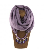 Waterdrops Tassel and Beads Decorated Solid Color Cotton Women Scarf Necklace - Violet