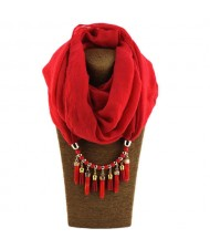 Waterdrops Tassel and Beads Decorated Solid Color Cotton Women Scarf Necklace - Red