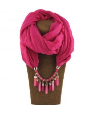 Waterdrops Tassel and Beads Decorated Solid Color Cotton Women Scarf Necklace - Rose