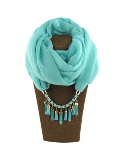 Waterdrops Tassel and Beads Decorated Solid Color Cotton Women Scarf Necklace - Sky Blue