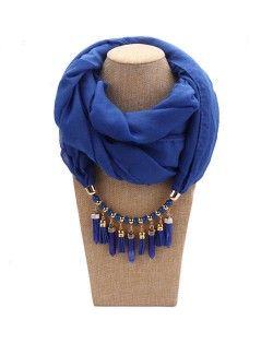 Waterdrops Tassel and Beads Decorated Solid Color Cotton Women Scarf Necklace - Royal Blue
