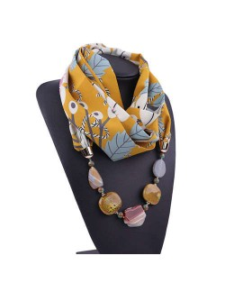 Gem and Stone Embellished Folk Style Autumn and Winter Fashion Women Chiffon Scarf Necklace - Yellow