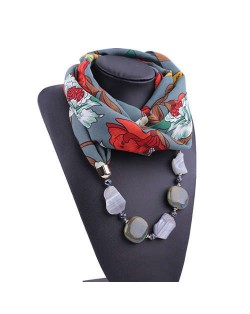 Gem and Stone Embellished Folk Style Autumn and Winter Fashion Women Chiffon Scarf Necklace - Gray