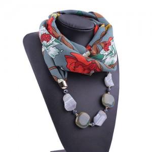 Gem and Stone Embellished Folk Style Autumn and Winter Fashion Women Chiffon Scarf Necklace - Gray