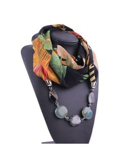 Gem and Stone Embellished Folk Style Autumn and Winter Fashion Women Chiffon Scarf Necklace - Black