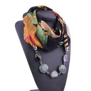 Gem and Stone Embellished Folk Style Autumn and Winter Fashion Women Chiffon Scarf Necklace - Black