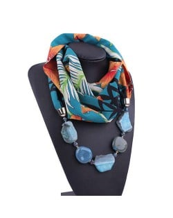 Gem and Stone Embellished Folk Style Autumn and Winter Fashion Women Chiffon Scarf Necklace - Blue