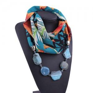 Gem and Stone Embellished Folk Style Autumn and Winter Fashion Women Chiffon Scarf Necklace - Blue