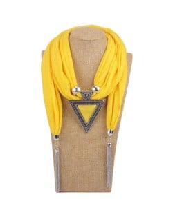 Resin Gem Inlaid Vintage Triangle Pendant High Fashion Women Scarf Necklace - Yellow