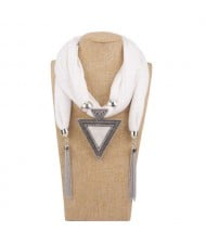 Resin Gem Inlaid Vintage Triangle Pendant High Fashion Women Scarf Necklace - White