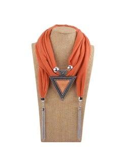Resin Gem Inlaid Vintage Triangle Pendant High Fashion Women Scarf Necklace - Orange