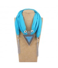 Resin Gem Inlaid Vintage Triangle Pendant High Fashion Women Scarf Necklace - Sky Blue