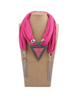 Resin Gem Inlaid Vintage Triangle Pendant High Fashion Women Scarf Necklace - Pink