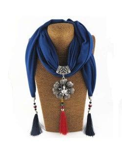 Rhinestone Flower Pendant Tassel Design Vintage Fashion Women Scarf Necklace - Blue