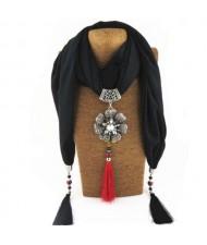 Rhinestone Flower Pendant Tassel Design Vintage Fashion Women Scarf Necklace - Black