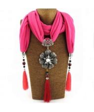 Rhinestone Flower Pendant Tassel Design Vintage Fashion Women Scarf Necklace - Rose