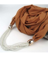 Beads Chain Statement Fashion Autumn and Winter Style Women Scarf Necklace - Brown