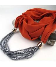 Beads Chain Statement Fashion Autumn and Winter Style Women Scarf Necklace - Orange