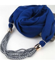 Beads Chain Statement Fashion Autumn and Winter Style Women Scarf Necklace - Royal Blue