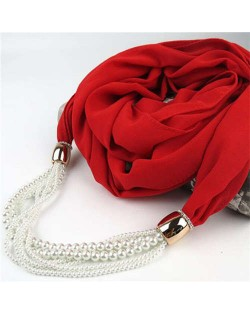 Beads Chain Statement Fashion Autumn and Winter Style Women Scarf Necklace - Red