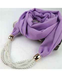 Beads Chain Statement Fashion Autumn and Winter Style Women Scarf Necklace - Violet