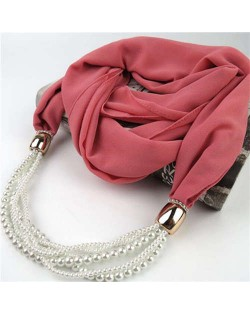 Beads Chain Statement Fashion Autumn and Winter Style Women Scarf Necklace - Pink