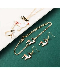 Oil-spot Glaze White Deer Christmas Fashion Costume Jewelry Set