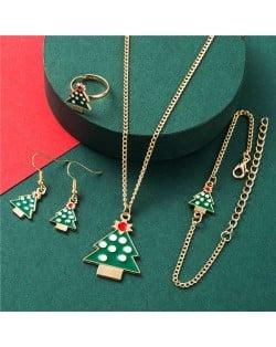 Enamel Classic Christmas Tree Fashion Women Jewelry Set