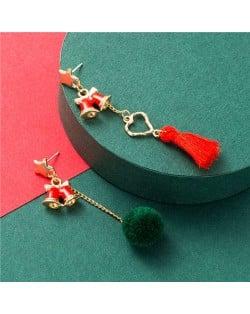 Red Bell with Tassel Design Christmas Fashion Asymmetric Women Alloy Earrings