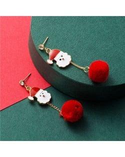 Santa Claus with Fluffy Ball Tassel Design Women Fashion Earrings