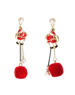Red Fluffy Ball and Artificial Pearl Tassel Santa Claus Christmas Fashion Women Alloy Earrings
