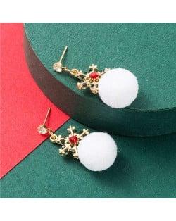 Creative Snowflake White Fluffy Ball Christmas Fashion Women Stud Earrings