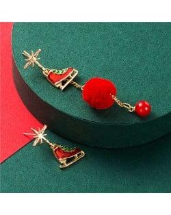 Ice Skates with Red Fluffy Ball Tassel Design Christmas Fashion Asymmetric Alloy Women Earrings