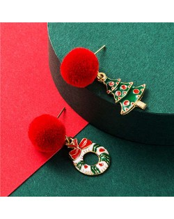 Christmas Tree and Floral Hoop High Fashion Asymmetric Enamel Women Alloy Earrings