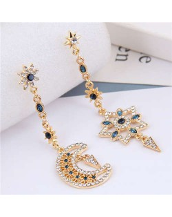 Rhinestone Embellished Baroque Fashion Asymmetric Design Alloy Women Costume Earrings