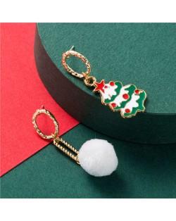Christmas Tree and Snow Asymmetric Design Women Costume Earrings