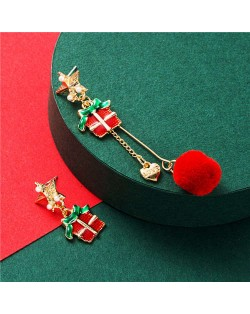 Love Theme Gifts and Red Fluffy Ball Asymmetric Design Women Enamel Fashion Earrings