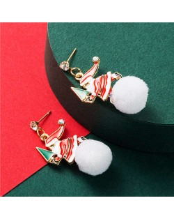 Santa Claus and Snowball Asymmetric Design Women Costume Earrings