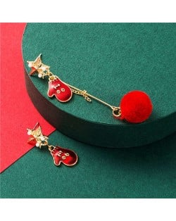 Christmas Gloves and Red Fluffy Ball Asymmetric Design Women Fashion Earrings