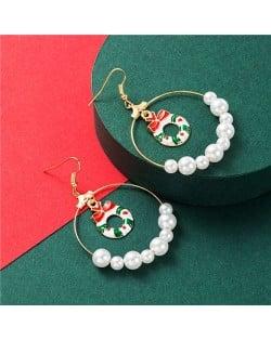 Christmas Floral Hoop Inlaid Big Pearl Hoop High Fashion Women Earrings