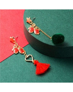 Gift Gloves with Asymmetric Tassel Design Women Costume Earrings