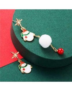 Snowman with White Fluffy Ball Asymmetric Tassel Design Women Fashion Earrings