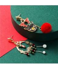 Elk and Christmas Floral Hoop Asymmetric Design High Fashion Women Alloy Earrings