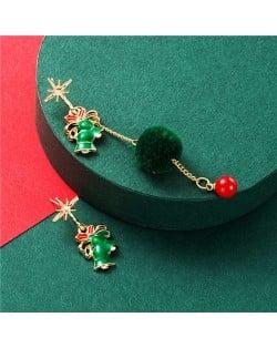 Green Bells Asymmetric Design Christmas Fashion Enamel Costume Earrings