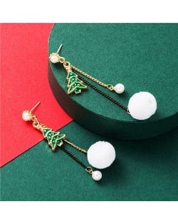 Christmas Trees and Snow Design High Fashion Women Alloy Earrings