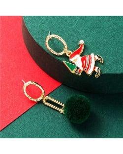 Santa Claus and Golden Hoop Christmas Fashion Asymmetric Design Women Alloy Earrings